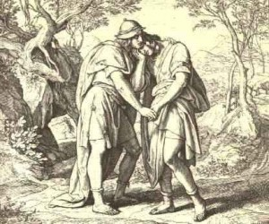 Jonathan Lovingly Taketh His Leave of David by Julius Schnorr von Carolsfeld