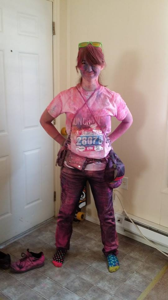 Cass after participating in a Run or Dye marathon.